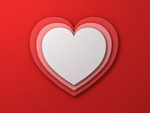 White heart on red layer hearts valentines day card background with shadow 3D render Royalty Free Stock Photography