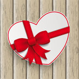 White Heart Red Ribbon Wood Stock Photos