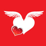 White Heart2. Red Wings Ready to fly For design work Stock Images