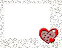 White heart shape border. Valentine's day greeting card with red heart Stock Photos
