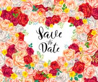 White heart shape with calligraphic sign Save the Date on floral background of red, pink and white vector roses Royalty Free Stock Photos