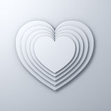 White heart shape layers on white wall background with shadow, valentines day background 3D rendering Stock Images