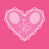 White Heart shape is made of lace doily on pink background, Holi Stock Photography