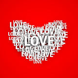 White heart shape made by paper text Love on red background for Royalty Free Stock Photography