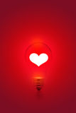 White heart shape on red light bulb background, blank text Stock Images