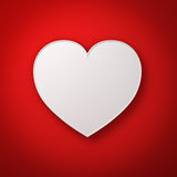 White heart shape on red wall background with shadow, valentines day background. 3D rendering Stock Images