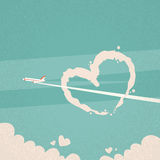 White Heart Shape In Sky, Plane Cloud, Valentine Day Royalty Free Stock Photo
