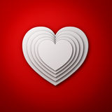 White heart shapes on red wall background with shadow, valentines day background 3D render Stock Image