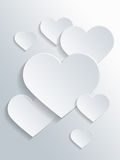 White Heart Shapes for Valentines Day Concept Stock Photo