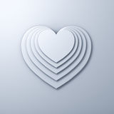 White heart shapes on white wall background with shadow, valentines day background. 3D rendering Stock Images