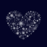 White heart and snowflakes. Heart of Snowflakes Royalty Free Stock Images