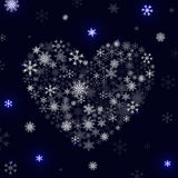 White heart and snowflakes. Heart of Snowflakes.  Royalty Free Stock Image
