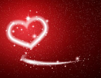 White Heart, Star, Snow on Red Background Valentine Stock Images