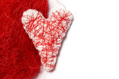 White heart. Valentine. White heart on a red background Stock Photography