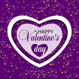 White heart on a violet background Valentines day and confetti. Vector. Illustration Royalty Free Stock Photography