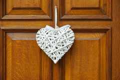 White heart  on wooden door Royalty Free Stock Photos