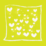 White heart on yellow background Royalty Free Stock Photos