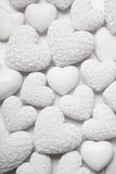 White hearts background with small roses. Shabby chic style. Royalty Free Stock Images