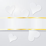 White hearts with banderole Stock Images