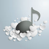 White Hearts Black Music Stock Photography