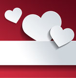White Hearts with Copy Space Against Red Color Royalty Free Stock Image