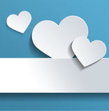 White Hearts with Copy Space Against Sky Blue Royalty Free Stock Image