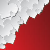 White hearts in corner. Greeting card in Vector Format Stock Images