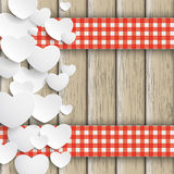 White Hearts Gift Double Cloth Valentinsday Wood Royalty Free Stock Photo