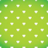 White hearts patter over a green background Royalty Free Stock Photos