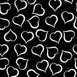 White hearts pattern on black background. Illustration. White hearts pattern on black background Stock Illustration