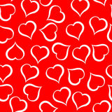 White hearts pattern on red background. Illustration. White hearts pattern on red background Stock Illustration