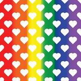 White hearts on rainbow background. LGBT background. Design element for poster, banner, flyer, greeting card, pride. Vector illustration Royalty Free Stock Photos