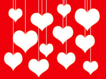 White hearts on red background. Illustration of white hearts on red background Stock Photo