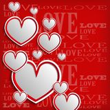 White hearts on a red background Stock Image