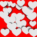 White hearts on red background Royalty Free Stock Photo