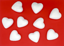 White hearts on red background. Pattern for valentines day Royalty Free Stock Photo