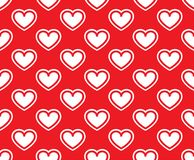 White hearts on a red background stock illustration
