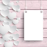 White Hearts Side Board Pink Wood Royalty Free Stock Image