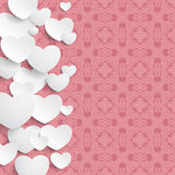 White Hearts Side Pink Ornaments Stock Image