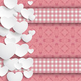White Hearts Side Pink Ornaments Checked Banners. White hearts and ornaments on the pink background Stock Images