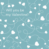 White hearts on swirly stems on a light blue background. Will yo Royalty Free Stock Photos