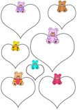 White hearts with teddies Royalty Free Stock Image