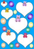 White hearts with teddies and balloons Stock Images