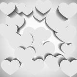 White hearts on white background Royalty Free Stock Photo