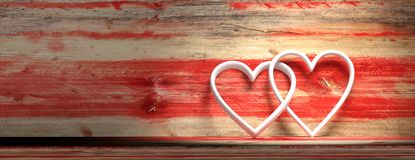 White hearts on wooden red background. 3d illustration. White hearts on wooden red background with copy space. 3d illustration royalty free illustration