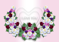 White hearts with a wreath of flowers on a pink background Stock Photo