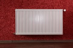Radiator in red room Royalty Free Stock Photography