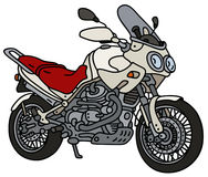 White heavy motorcycle. Hand drawing of a vhite heavy enduro motorcycle Stock Images
