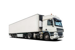 White heavy truck isolated. White heavy trail truck isolated royalty free stock photos