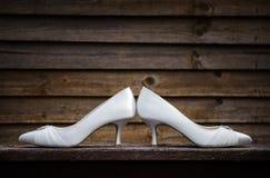 White Heels. White kitten heels for a wedding Stock Photography